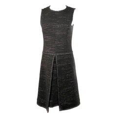 Chanel Black Tweed and Metallic Sleeveless Midi Dress Size 40