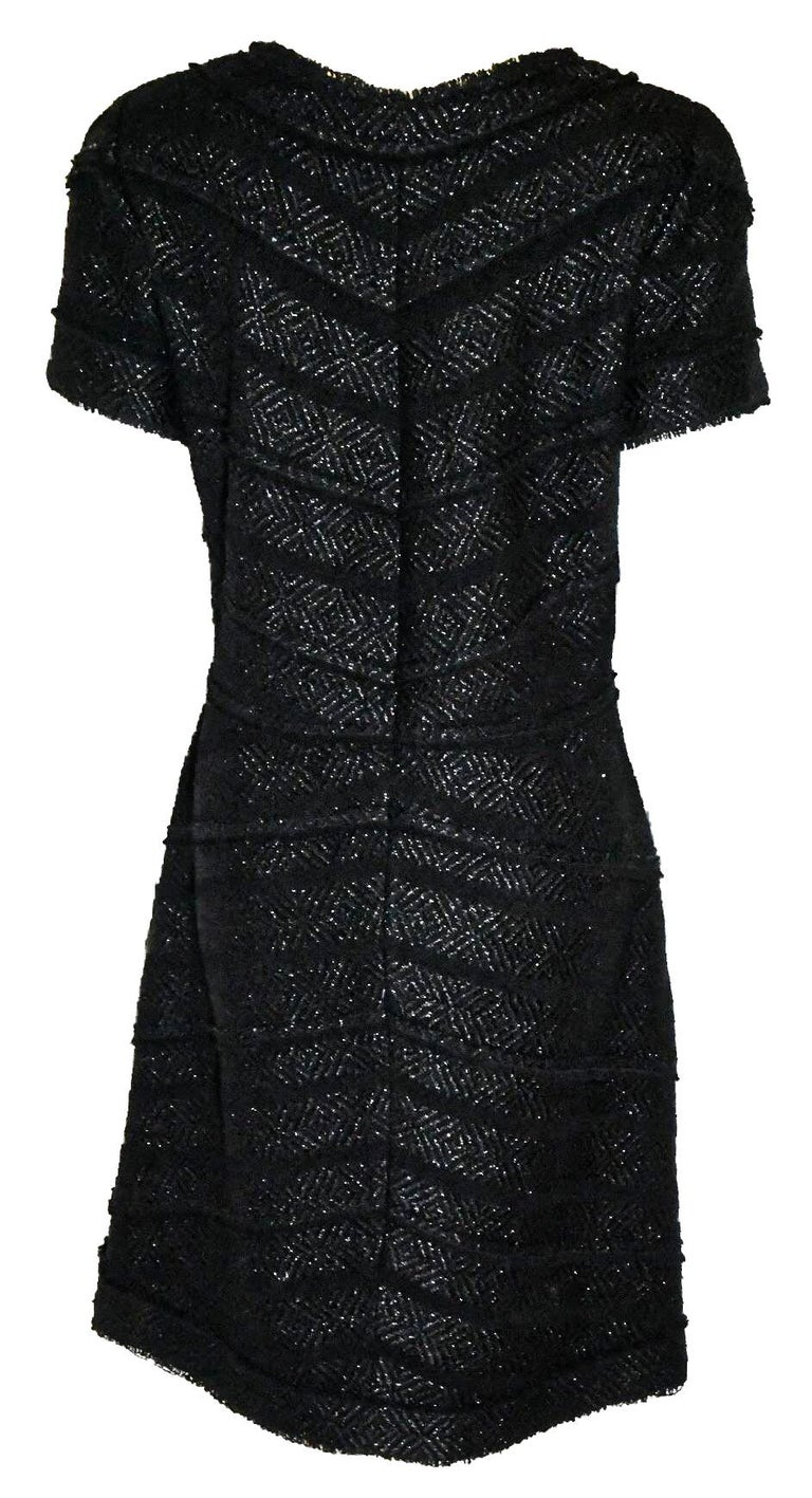 Chanel Black Tweed Chevron Design Frayed Edges Short Sleeve Dress In Excellent Condition For Sale In Palm Beach, FL