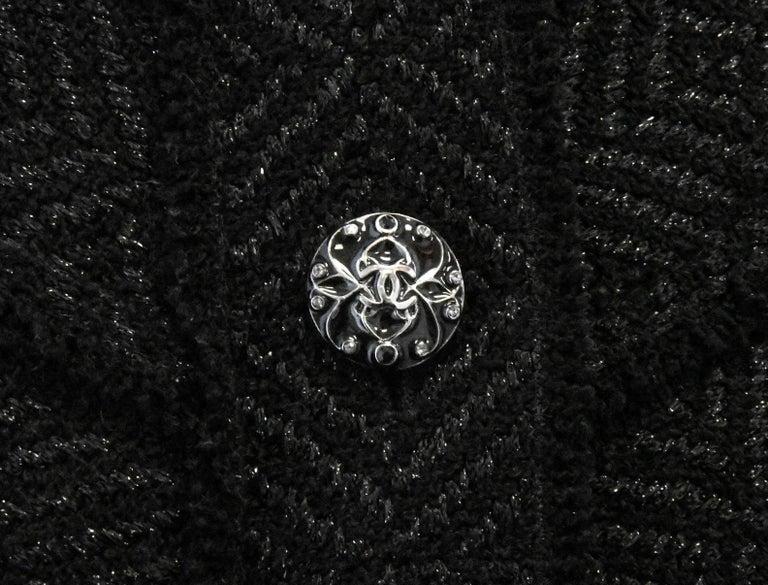 Chanel Black Tweed Chevron Design Frayed Edges Short Sleeve Dress For Sale 1