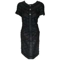 Chanel Black Tweed Chevron Design Frayed Edges Short Sleeve Dress