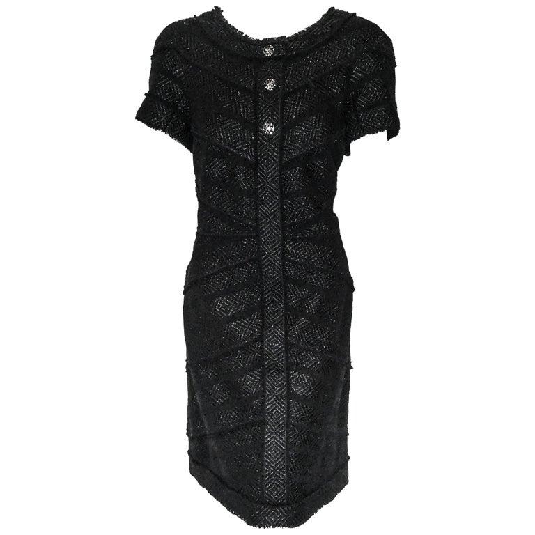 Chanel Black Tweed Chevron Design Frayed Edges Short Sleeve Dress For Sale