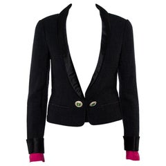 Chanel Black Tweed Contrast Extra Sleeve Detail Cropped Blazer M