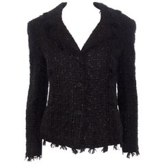 Chanel Black Tweed Fringed, Two Pocket Jacket & Camisole  2005 Cruise Collection