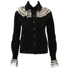Chanel Black Tweed Jacket With White Tulle  Pleated Ruffle Accent Jacket