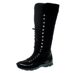 Chanel Black Tweed Knee High Sneaker Boots Size 38
