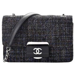Chanel Rare Tweed Lambskin Quilted Mini Beauty Lock Multicolor Black Flap Bag