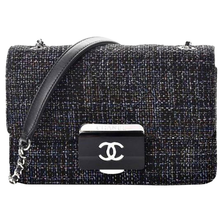 Chanel Rare Tweed Lambskin Quilted Mini Beauty Lock Multicolor Black Flap Bag For Sale