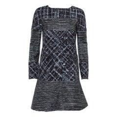 Chanel Black Tweed & Leather Sequin Embellished Paneled Mini Dress M