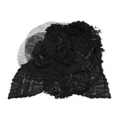 Chanel Black Tweed/Mesh Camellia Brooch Pin