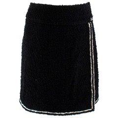 Chanel Black Tweed Metallic Trim Wrap Skirt S 38