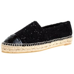 Chanel Black Tweed Sequin Embellished CC Cap Toe Espadrille Flats Size 39