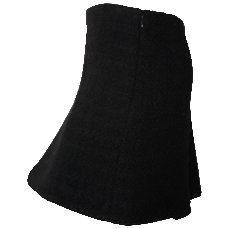 Chanel Black Tweed Skirt Size 36 NBW