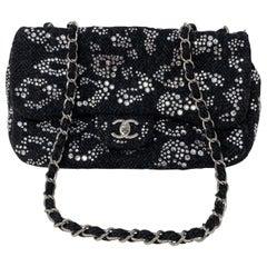 Chanel Black Tweed Swarovsky Crystal Flap Bag