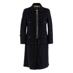 Chanel Black Tweed Zip Front Skirt Suit - Size US 8