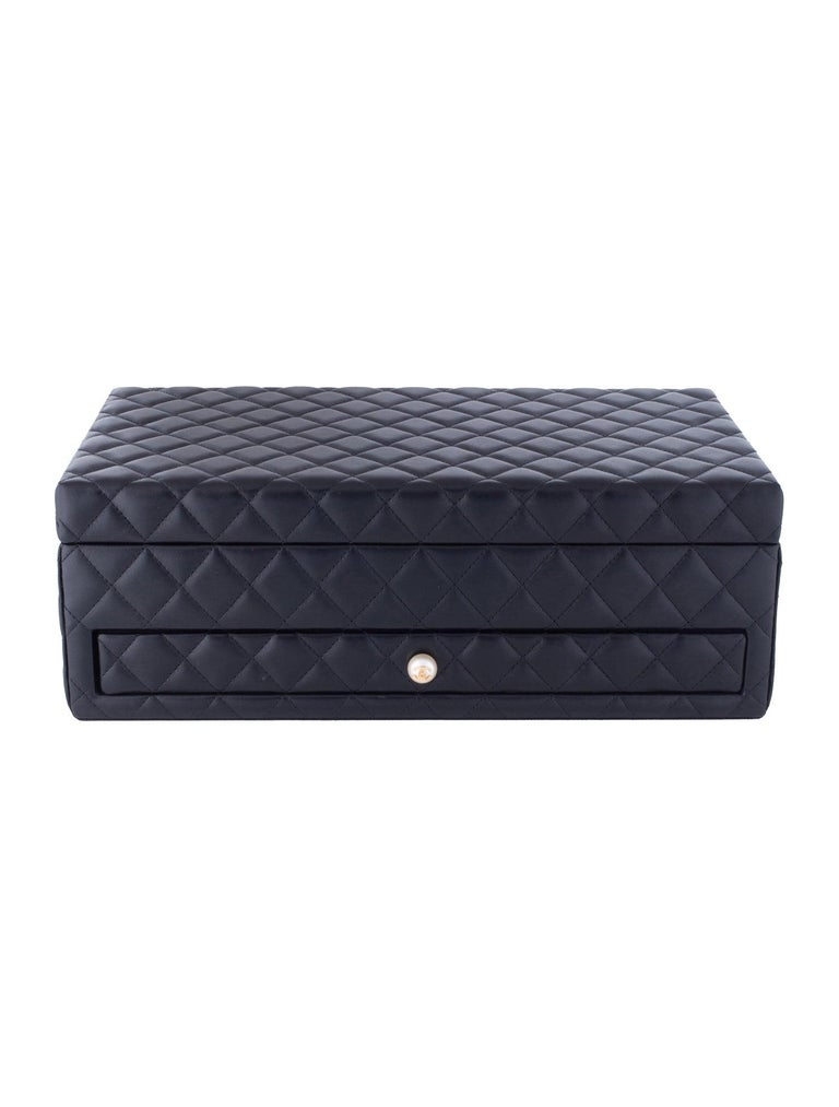 Chanel Limited Edition Pearl Lambskin Quilted Leather Rare Jewelry Box Vanity Case Home Decor  Gold hardware Quilted Lambskin leather CC studded pearl drawer knob Features removable top tray and sliding drawer with 12 compartments Measures 13.25