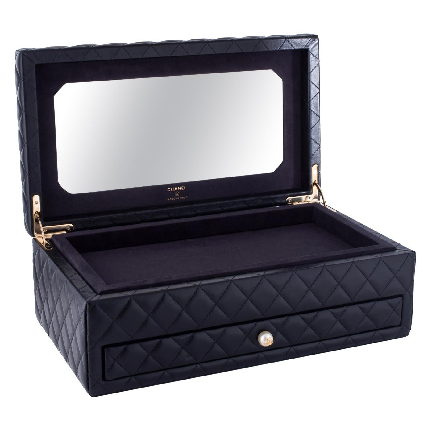 Chanel Black Vanity Case Limited Edition Rare Home Decor Cosmetic Jewelry Box