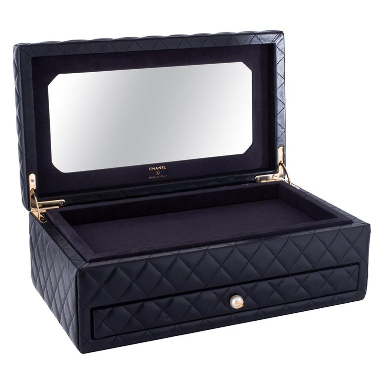 Chanel Black Vanity Case Limited Edition Rare Jewelry Box Home Decor Cosmetic  For Sale