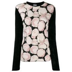 Chanel Black Velvet and Camellia Top