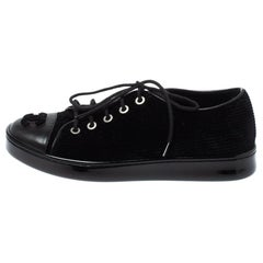 Chanel Black Velvet and Leather CC Sneakers Size 35