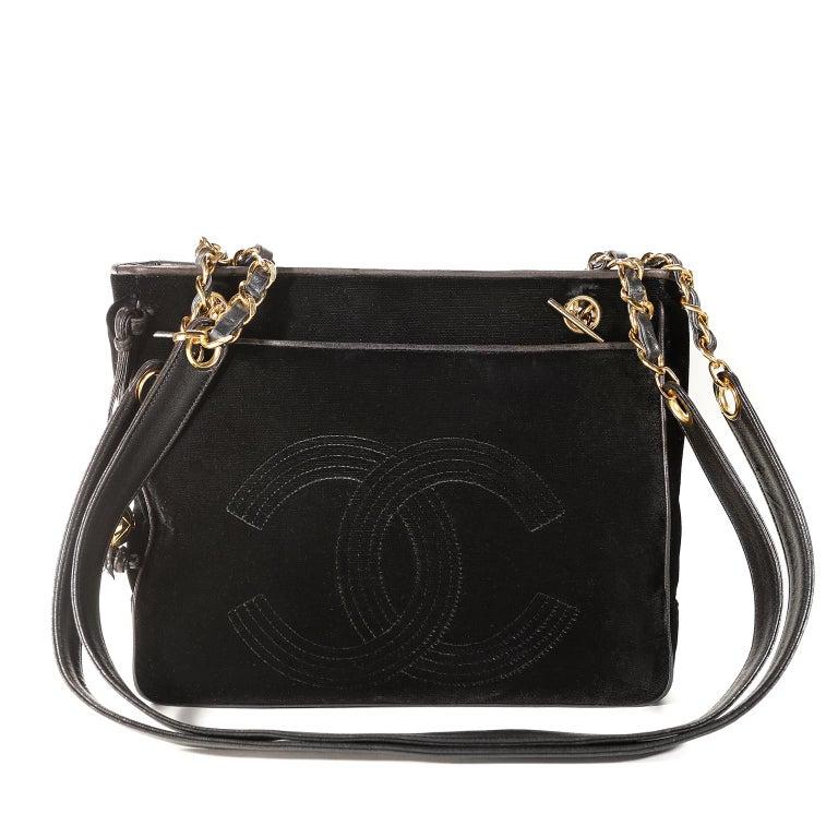 Chanel Black Velvet CC Vintage Tote For Sale 6