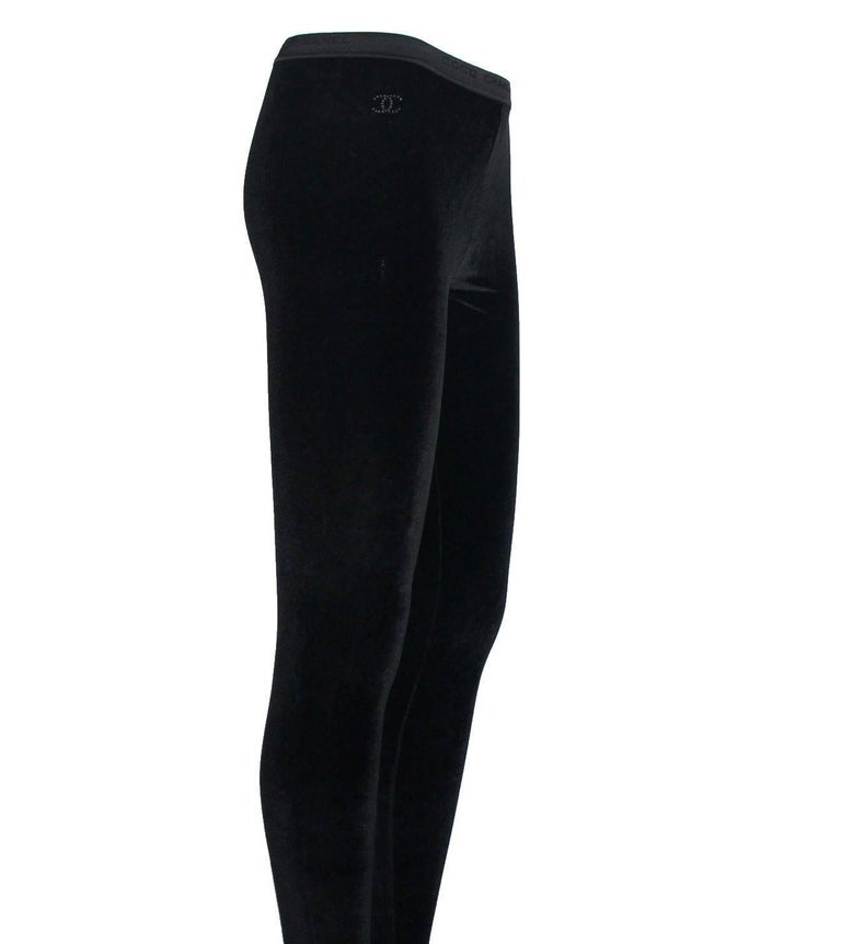 Gorgeous Chanel velvet footed leggings pants Luxurious shiny velvet Created by Karl Lagerfeld for Chanel A classy item that lasts you for many years So versatile - combine it with boots, a skirt, jacket, dress etc Fits like a second skin Elasticated