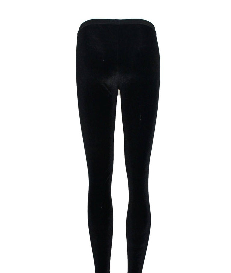 Brown Chanel Black Velvet Crystal Logo CC Footed Leggings Pants with Coco Chanel  For Sale