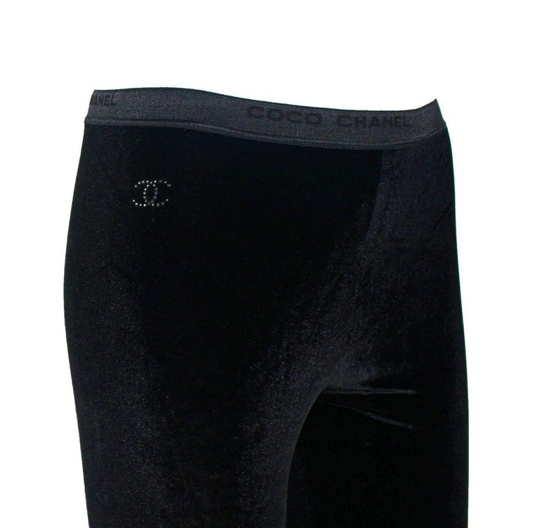 Chanel Black Velvet Crystal Logo CC Footed Leggings Pants with Coco Chanel  In New Condition For Sale In Switzerland, CH