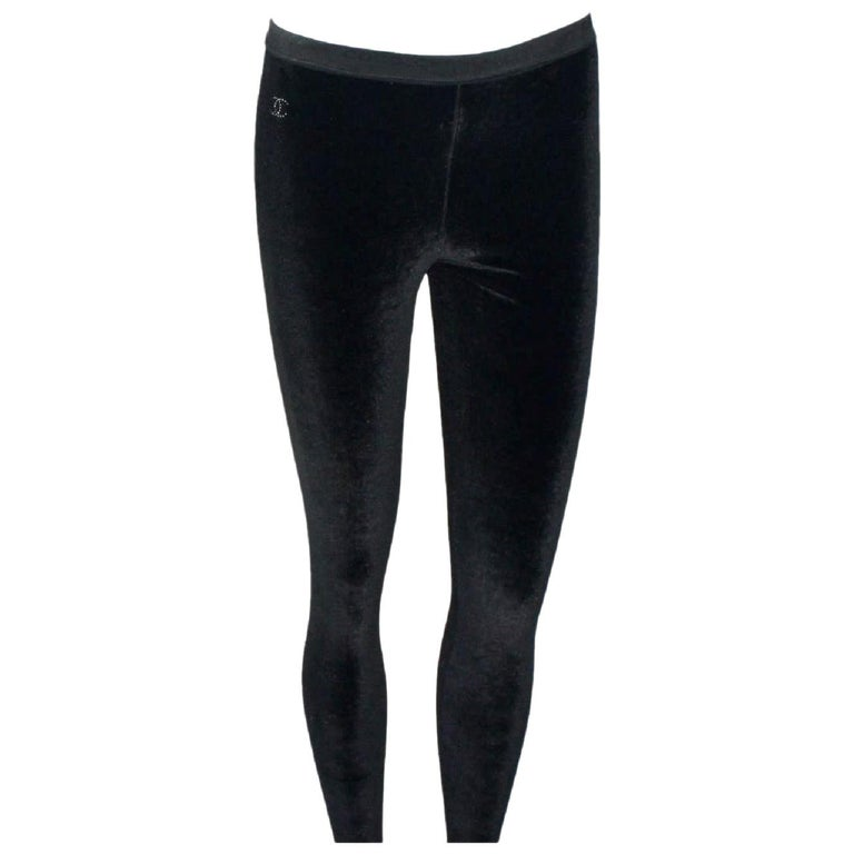 Chanel Black Velvet Crystal Logo CC Leggings Pants with Coco Chanel Waistband For Sale