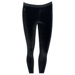 Chanel Black Velvet Crystal Logo CC Leggings Pants with Coco Chanel Waistband
