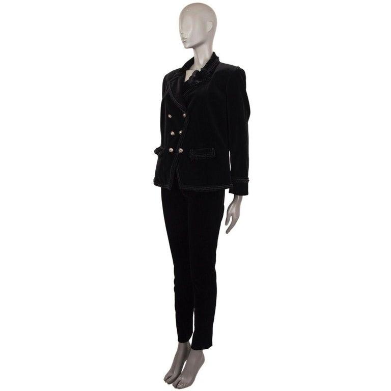 Black CHANEL black velvet Double-Breasted Blazer Jacket 48 XXXL For Sale