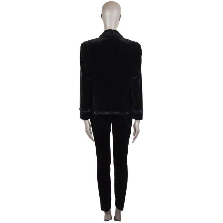CHANEL black velvet Double-Breasted Blazer Jacket 48 XXXL In Excellent Condition For Sale In Zürich, CH