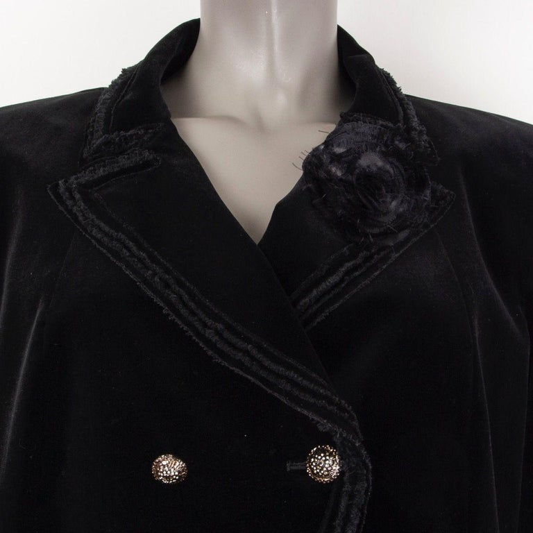 Women's CHANEL black velvet Double-Breasted Blazer Jacket 48 XXXL For Sale
