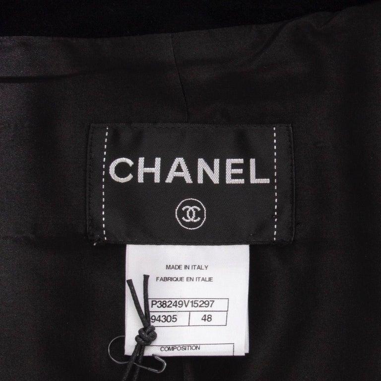CHANEL black velvet Double-Breasted Blazer Jacket 48 XXXL For Sale 1