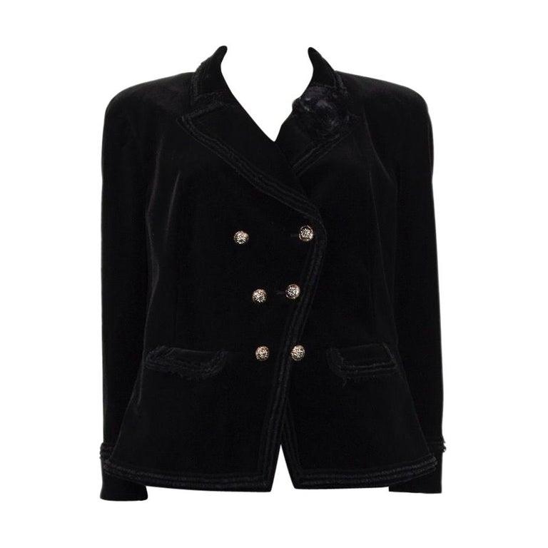 CHANEL black velvet Double-Breasted Blazer Jacket 48 XXXL For Sale