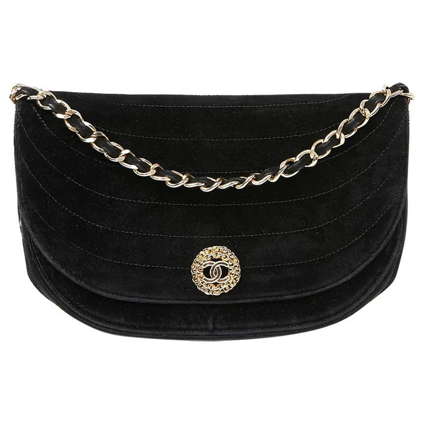 CHANEL Black Velvet Evening Bag