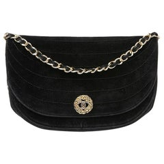CHANEL Black Velvet Evening Bag