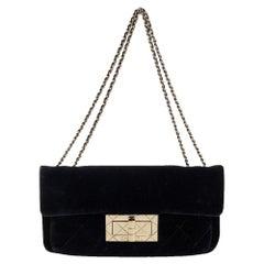 Chanel Black Velvet Giant Reissue Flap Shoulder Bag
