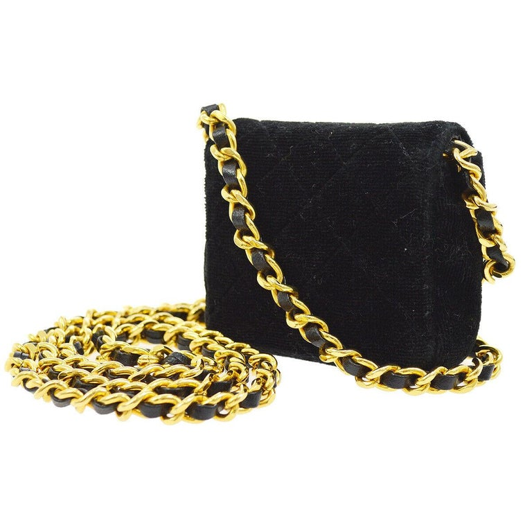 Chanel Black Velvet Gold Small Micro Mini Party Evening Crossbody Shoulder Flap Bag  Velvet Leather Gold tone hardware Leather lining Snap closure Made in France Shoulder strap drop 19