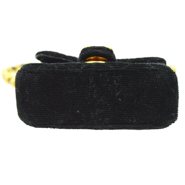 Women's Chanel Black Velvet Gold Small Micro Mini Party Crossbody Shoulder Flap Bag For Sale