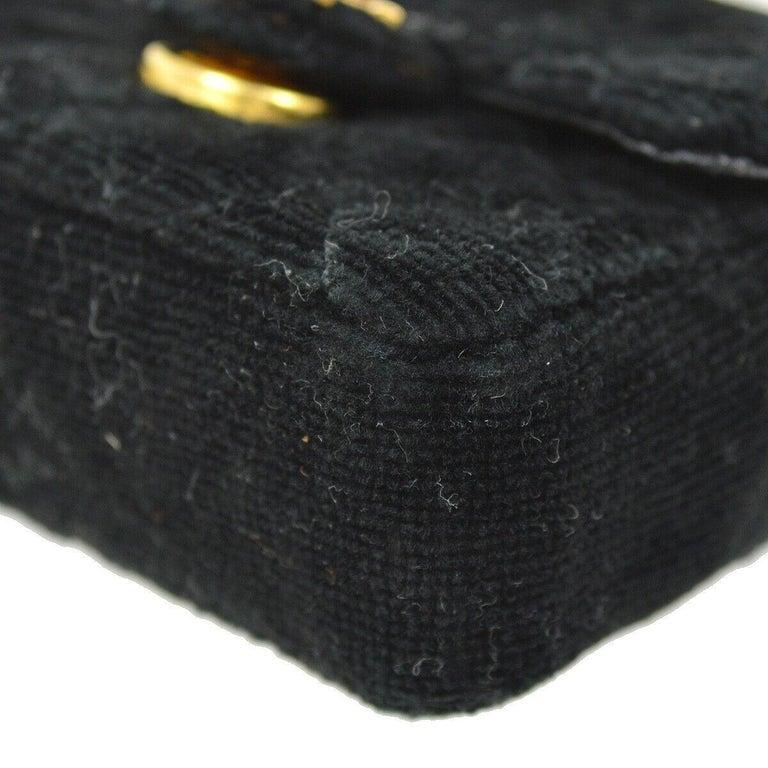 Chanel Black Velvet Gold Small Micro Mini Party Crossbody Shoulder Flap Bag For Sale 1