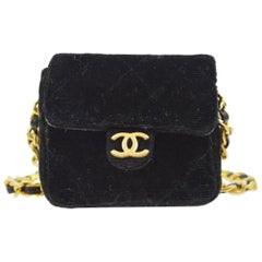 Chanel Black Velvet Gold Small Micro Mini Party Crossbody Shoulder Flap Bag