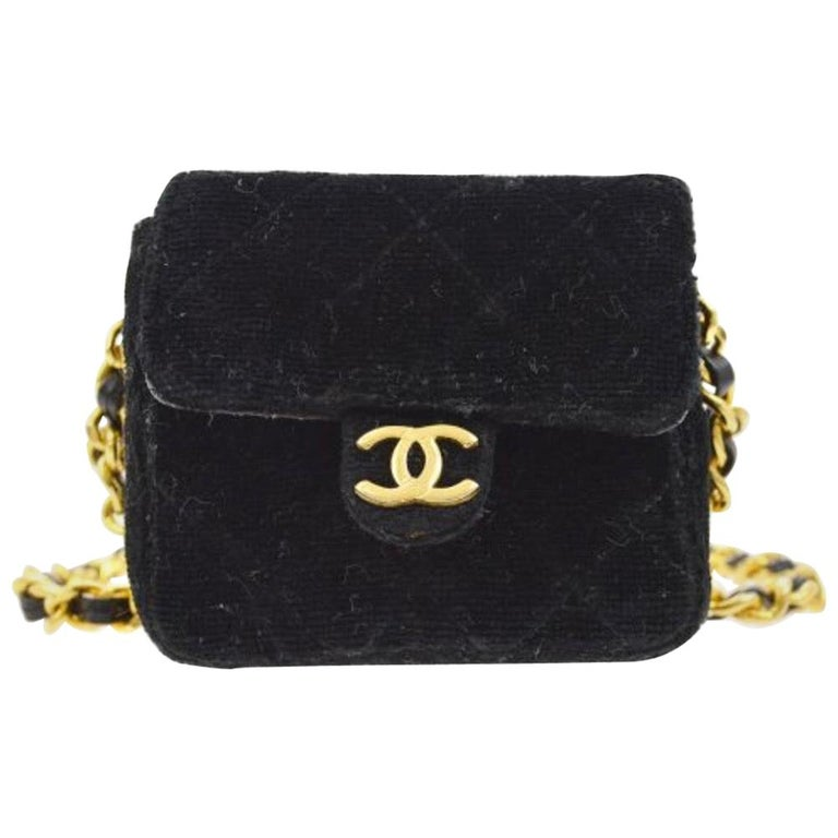 Chanel Black Velvet Gold Small Micro Mini Party Crossbody Shoulder Flap Bag For Sale