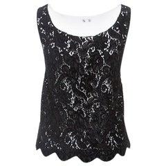Chanel Black Velvet Lace Sleeveless Top L
