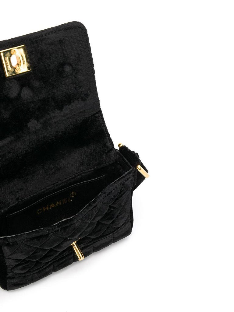 Chanel Black Velvet Mini Shoulder Bag In Excellent Condition For Sale In London, GB