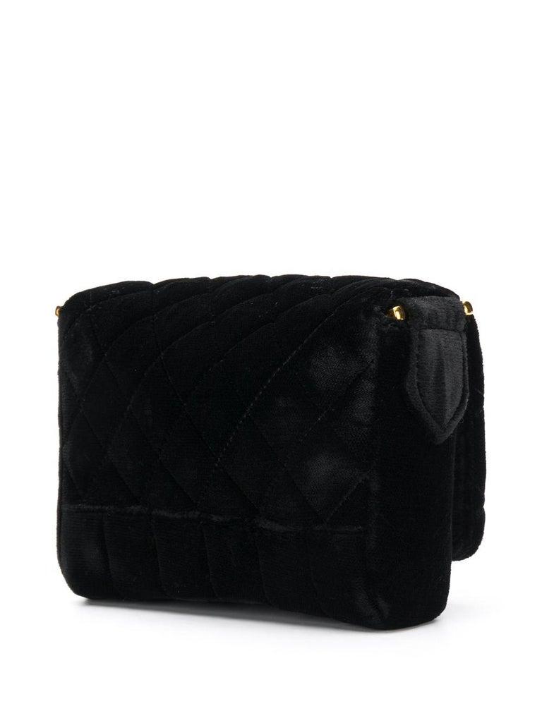 Women's Chanel Black Velvet Mini Shoulder Bag For Sale