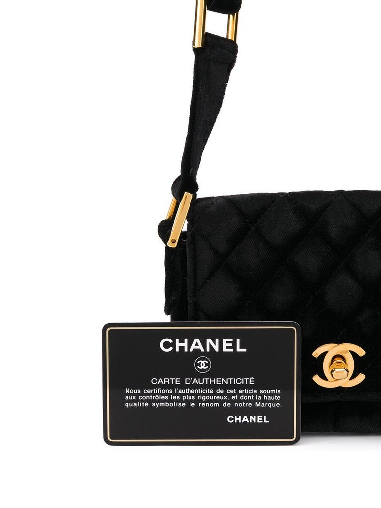 Chanel Black Velvet Mini Shoulder Bag For Sale 1