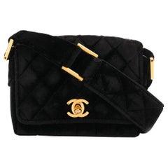 Chanel Black Velvet Mini Shoulder Bag