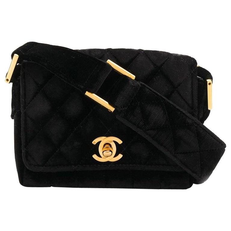 Chanel Black Velvet Mini Shoulder Bag For Sale