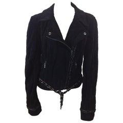 Chanel Black Velvet Moto Jacket