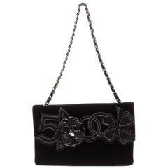 Chanel Black Velvet Precious Symbols Flap Bag